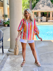 SUNNY STATE MULTI STRIPED BLOUSE