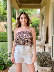 SOFIA: CANDY CHEETAH STRAPLESS TOP
