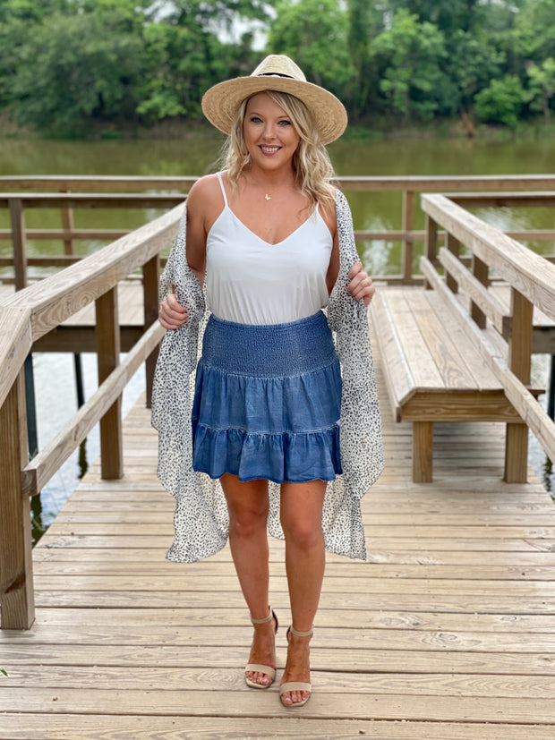 CHAMBRAY CUTIE SMOCKED SKIRT