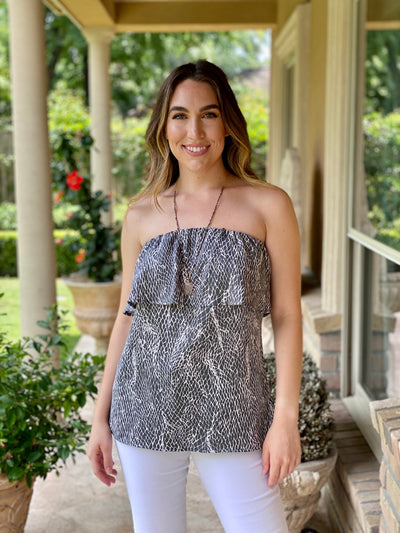 PLACES TO GO GREY SNAKE TOP