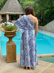 EXOTIC ESCAPE BLUE SNAKESKIN DRESS