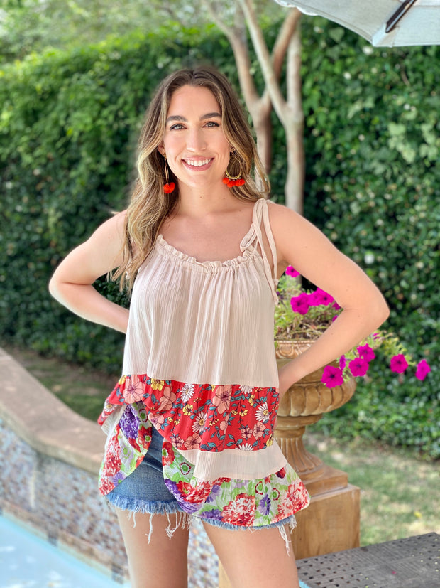 FLORAL TRADITION TIE STRAP TOP