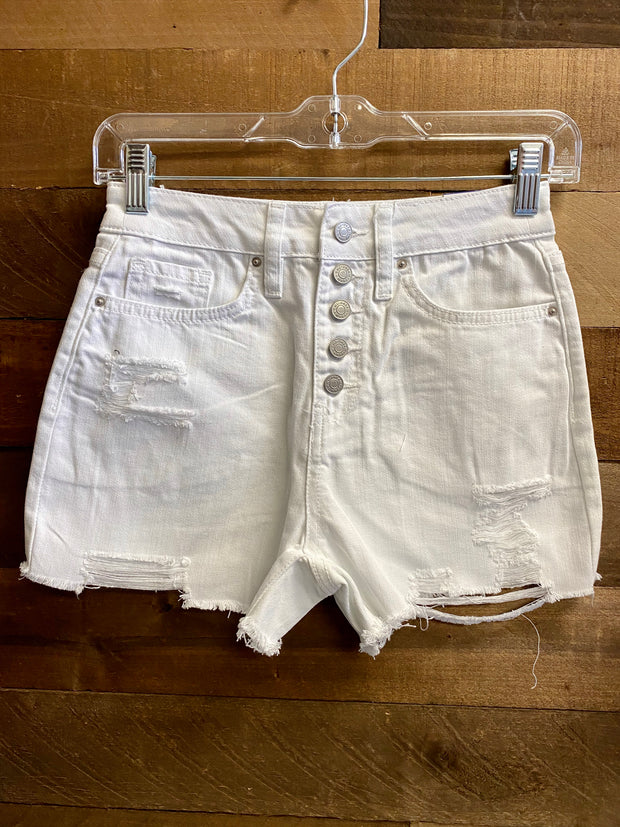 JMI:  BUTTON FLY DISTRESSED SHORTS - WHITE