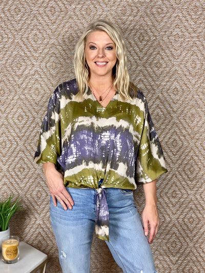 ELEVATED MOOD TIE DYE SATIN BLOUSE