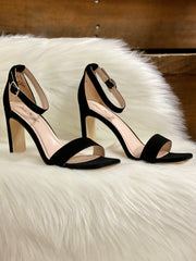 ANNE MICHELLE SUEDE HEEL - BLACK