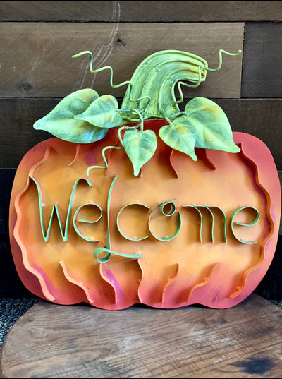 WELCOME METAL PUMPKIN W/ ATTACHED STAND