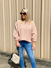 CHILLY OUT ROSE TEDDY SWEATER