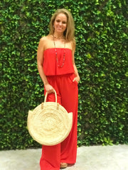 RED HOT STRAPLESS JUMPSUIT