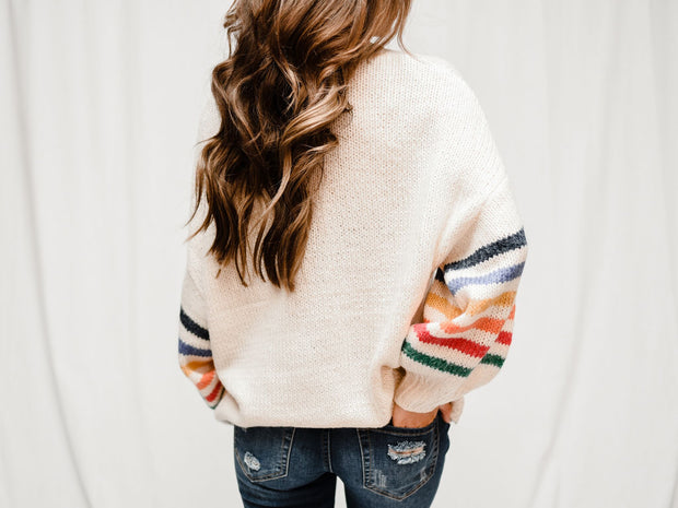 RAIN CHECK STRIPED SLEEVE SWEATER