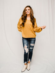RAY OF FALL SUNSHINE MUSTARD SWEATER