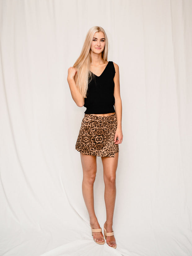 READY TO GO LEOPARD SKORT