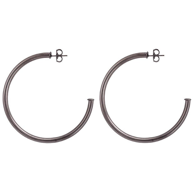 SHEILA FAJIL EVERYBODY'S FAVORITE HOOP EARRINGS - SHINY GUN METAL