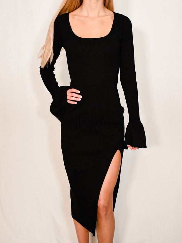 SLIP MY WAY BLACK MIDI DRESS