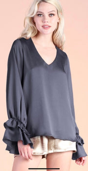 CHANGING PLANS CHARCOAL SATIN BLOUSE