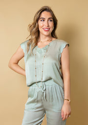 MUCH OBLIGED SAGE SCALLOPED TOP