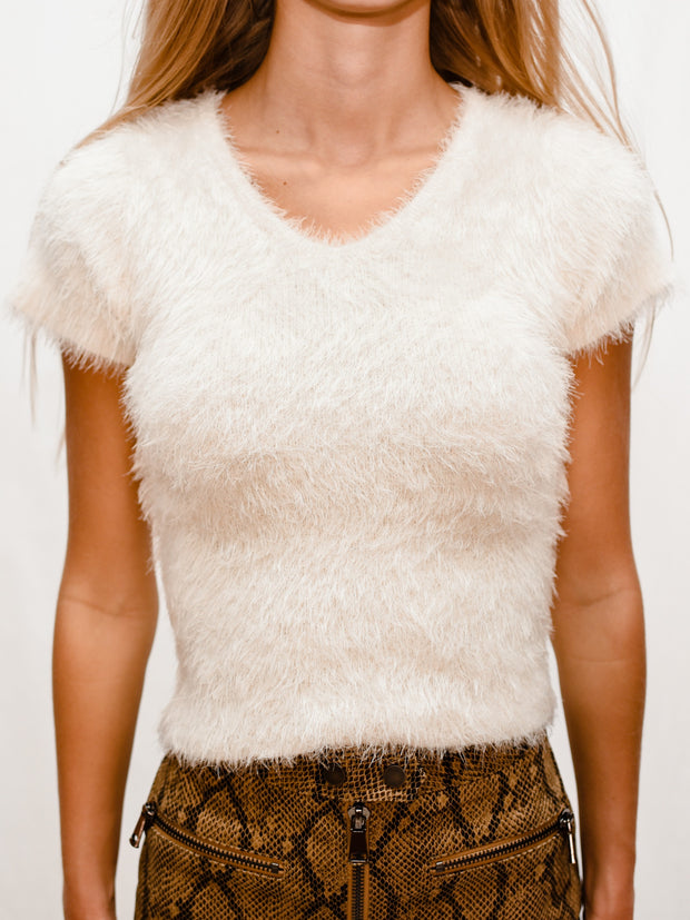ROCHELLE FUZZY SWEATER TOP