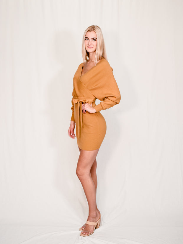 KEEP IT UP MUSTARD SWEATER DRESS