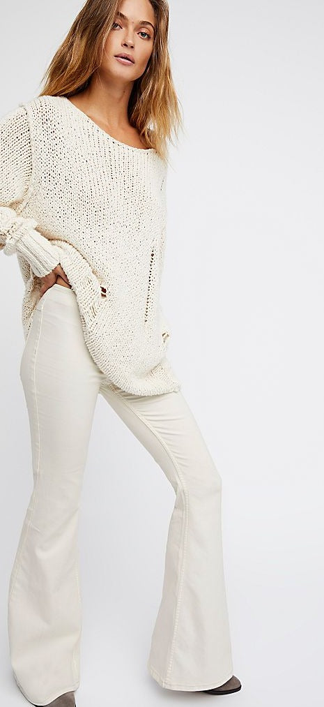 FREE PEOPLE:  LAUREL CANYON FLARE - CREAM