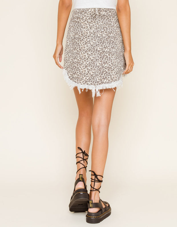 FREE PEOPLE:  PRINTED BAILEY DENIM MINI SKIRT