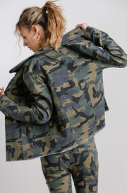 ALYSON CAMO FRAYED JACKET