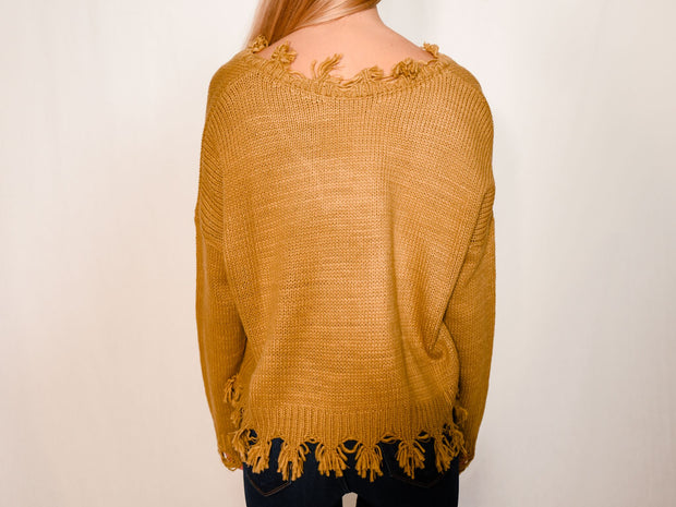 DISTRESSED BEST MUSTARD SWEATER