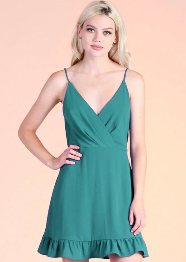 ALWAYS STUNNING HUNTER GREEN CAMI DRESS
