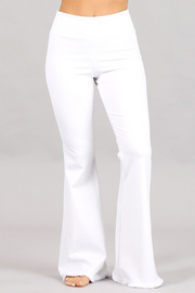 WHITE FRAYED AND FLARE PANT