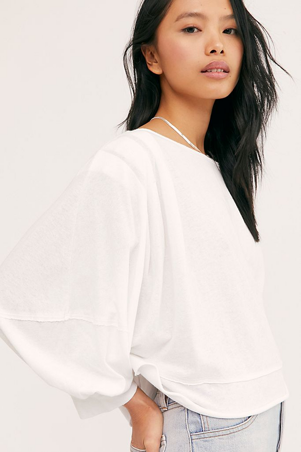 FREE PEOPLE:  WHITE ONSPO TEE