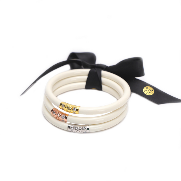 BUDHAGIRL ALL WEATHER BANGLES - IVORY THREE KINGS  (SET OF 3)