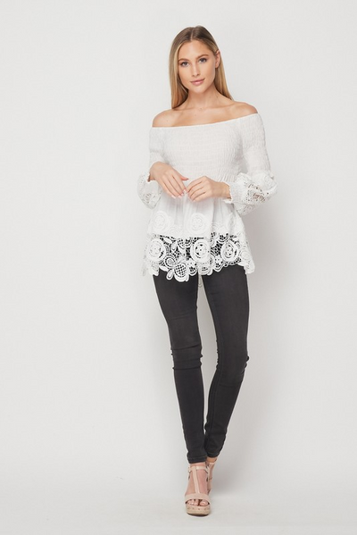 EMBRACE THE LACE OFF SHOULDER TOP