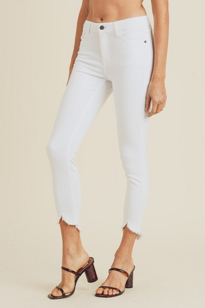 JUST USA: WHITE FRAYED SKINNY JEAN