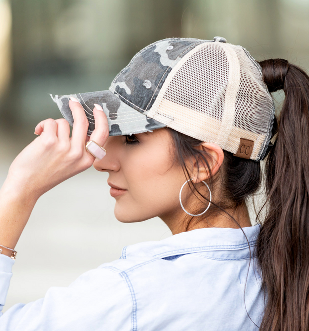 CC CAMO HIGH PONY TAIL HAT