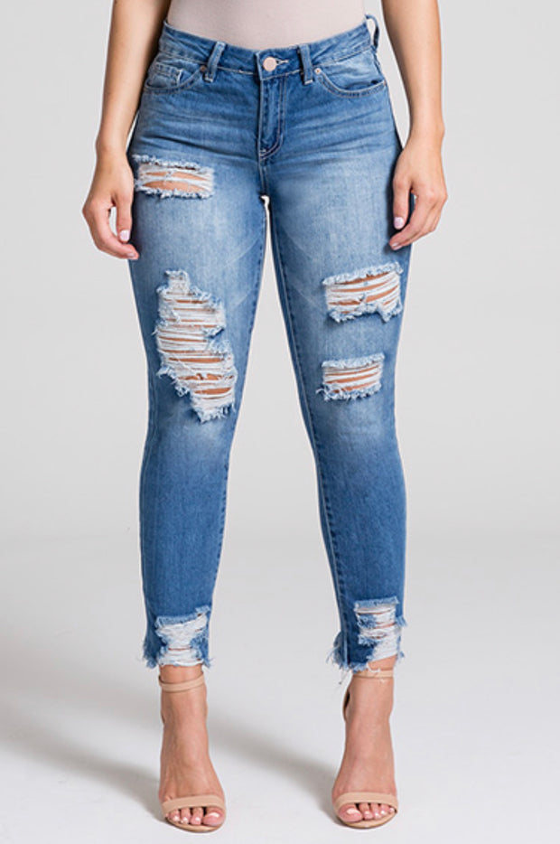 YMI: HYBRID DREAM MID-RISE ANKLE JEAN WITH HEM DESTRUCTION