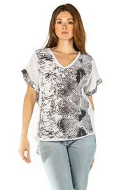 SOFIA:  SNAKEPRINT LINEN TOP