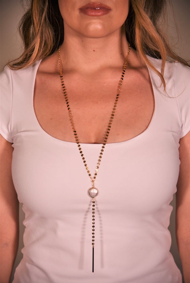 OH SO TRACIE: BARCELONA NECKLACE- GOLD PEARL