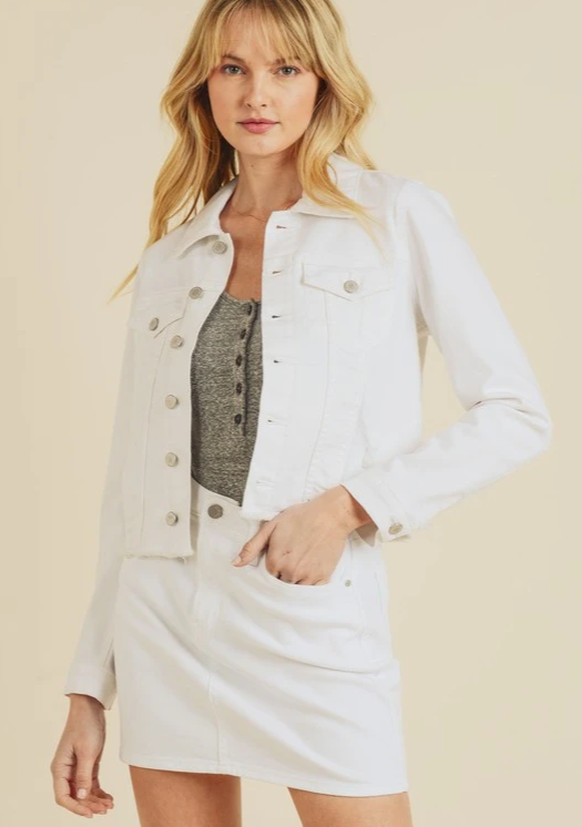 GEORGIA CROPPED WHITE DENIM JACKET