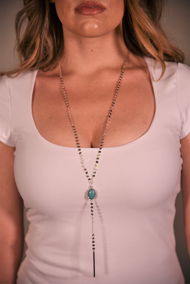 OH SO TRACIE: BARCELONA NECKLACE - SILVER TURQUOISE