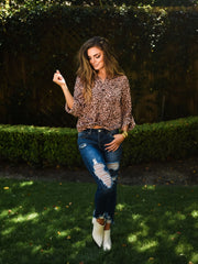 PERFECT MATE LEOPARD BUTTON DOWN