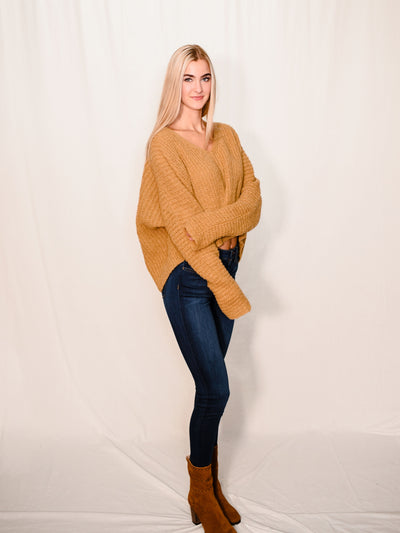 FREE PEOPLE MOON BEAN V-NECK SWEATER IN MUSTARD