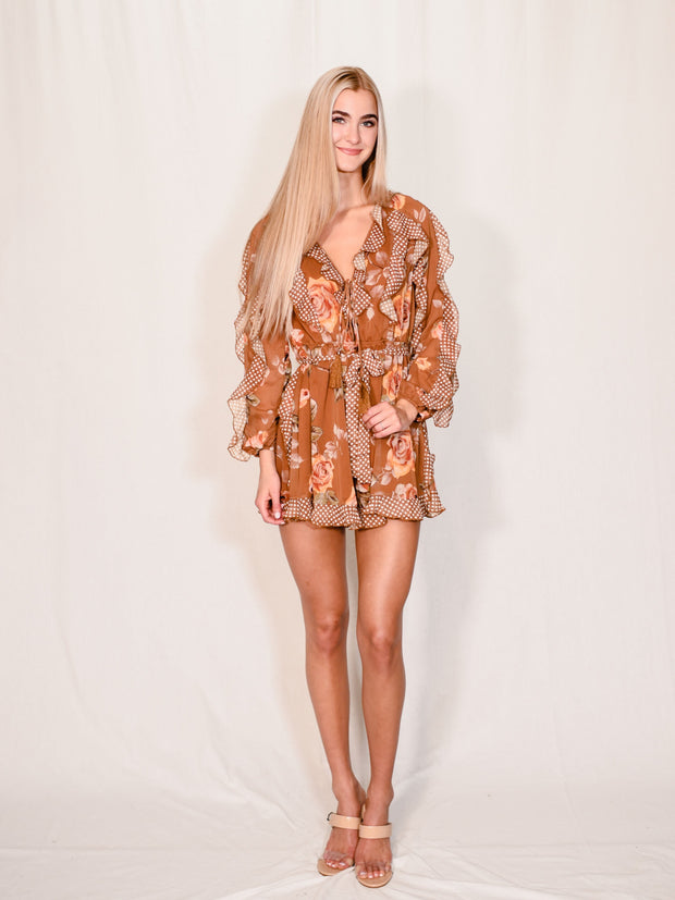 POPPY FLORALTY PRINTED ROMPER
