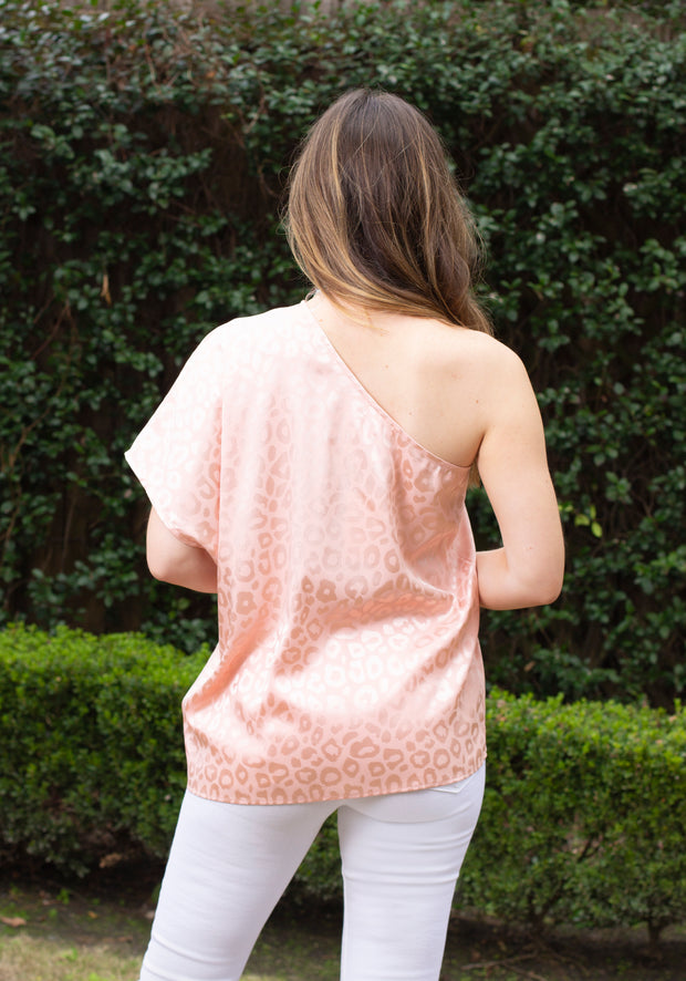 BLUSHING LEOPARD OFF SHOULDER BLOUSE