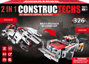 Constructechs Educational, Engineering DIY Remote Control 2 in 1 Space Racer (326 Piece) AW-CT-SPR