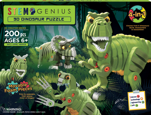 DGL TOYS 3D DINOSAUR PUZZLE 4-IN-1 BULD & PLAY