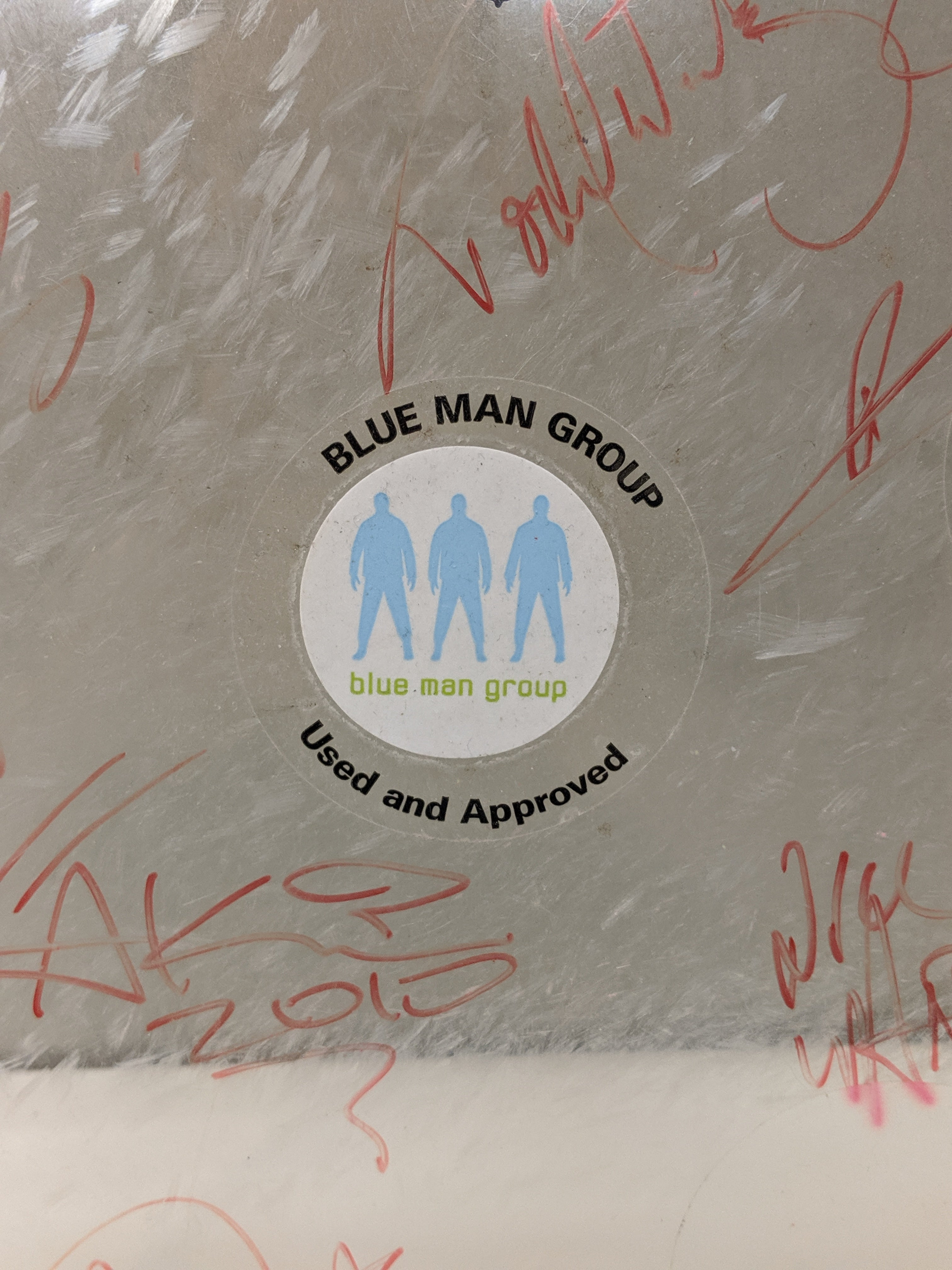 Signed Drum Head from The Blue Man Group