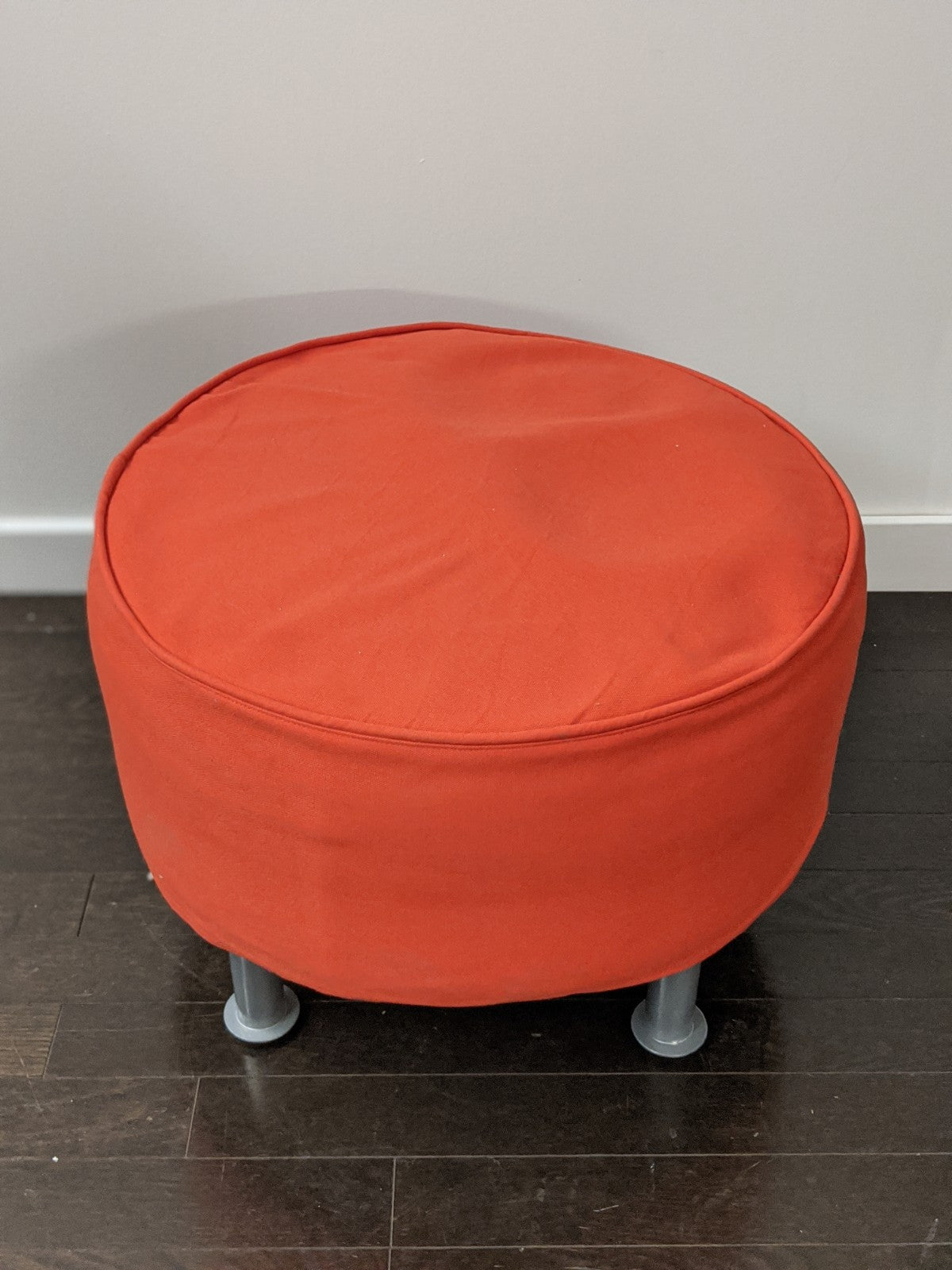 Ikea Black Vinyl Ottoman with Red Cover