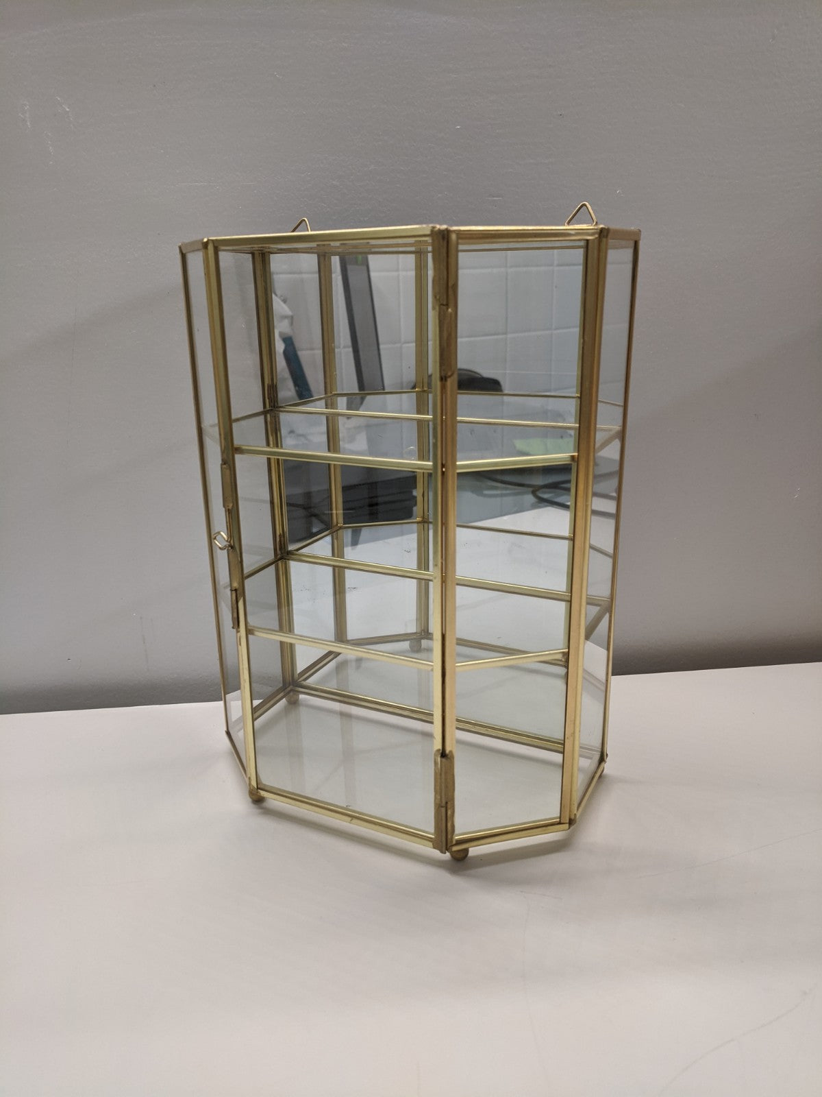 Brass & Glass Mirror Display Shelf