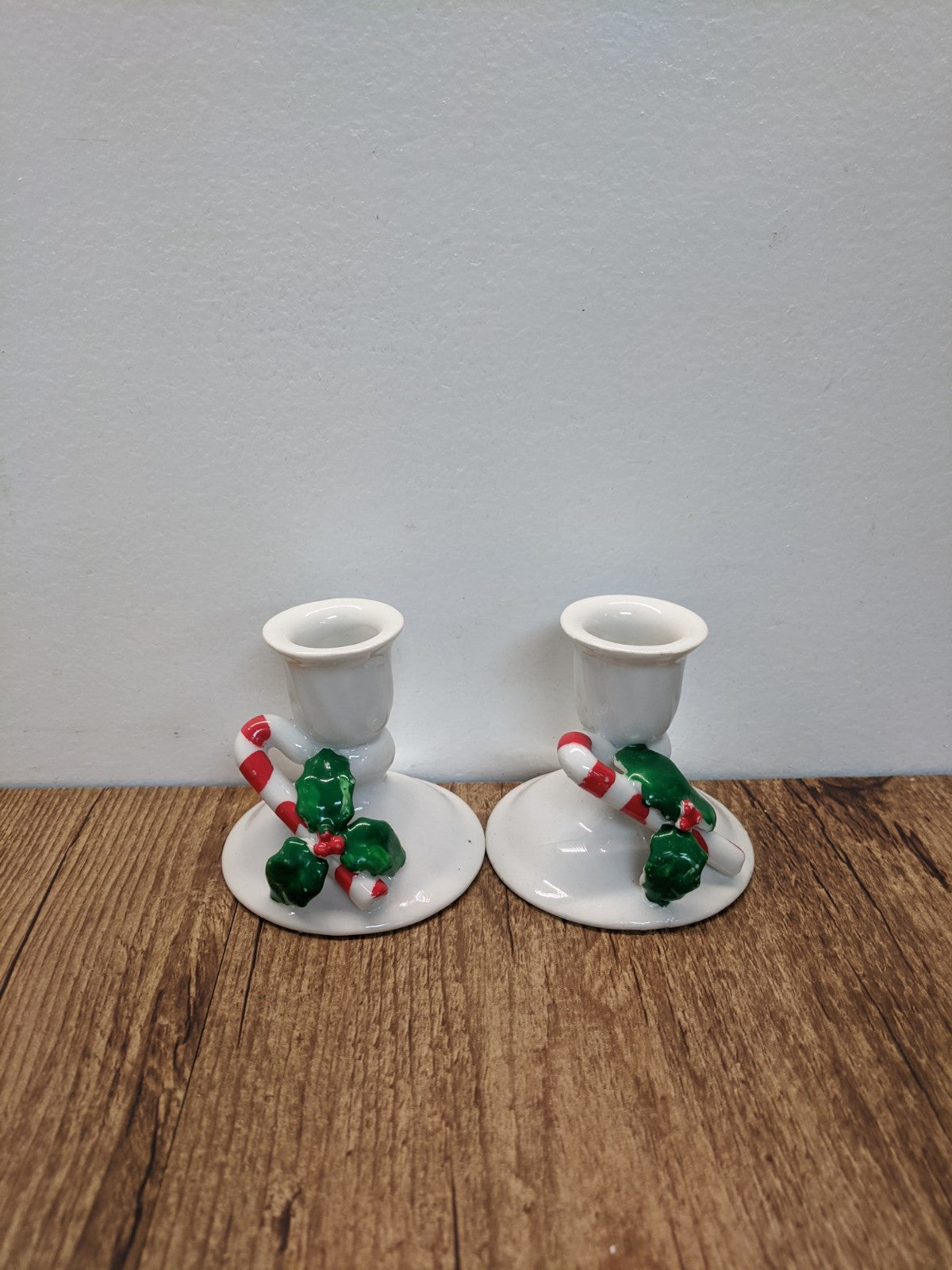(2) Candy Cane Candle Holders
