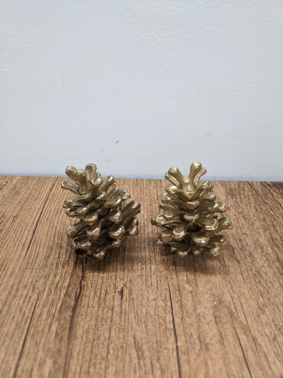 (2) Gold Pinecones