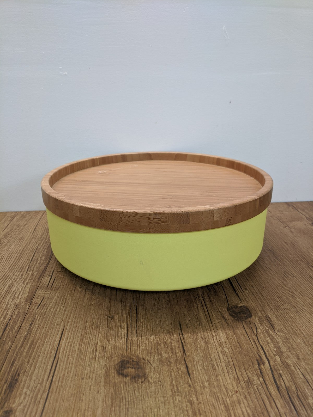 Neon Yellow Metal & Bamboo Container