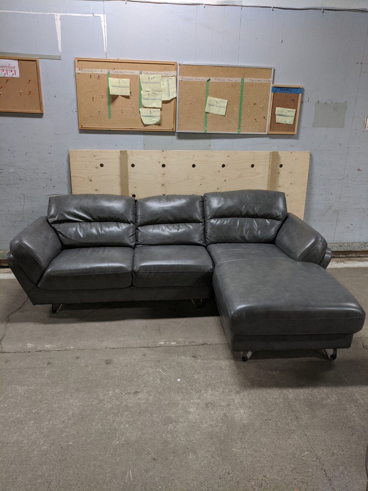 Modern Grey Leather Couch with Chaise